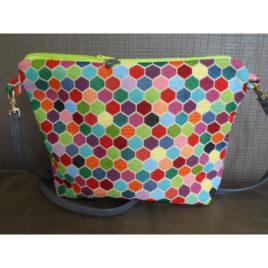 Sac bandoulière hexagone coloré
