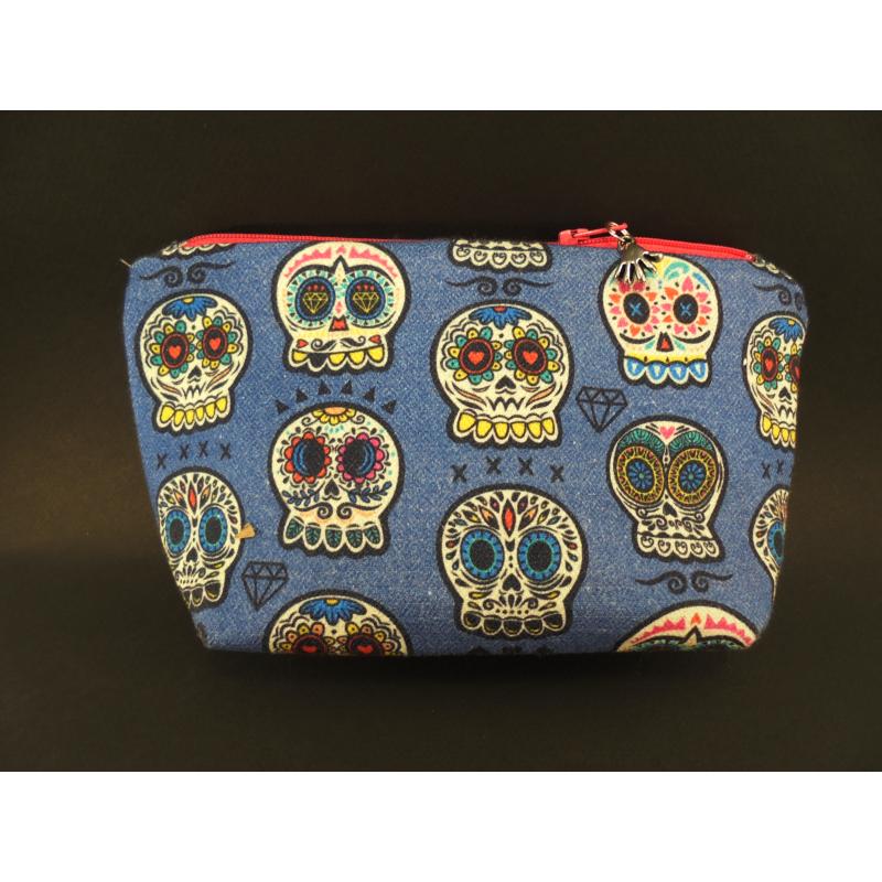 Pochette motif crânes mexicains