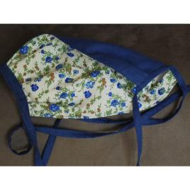 Masque tissu fleurs bleues