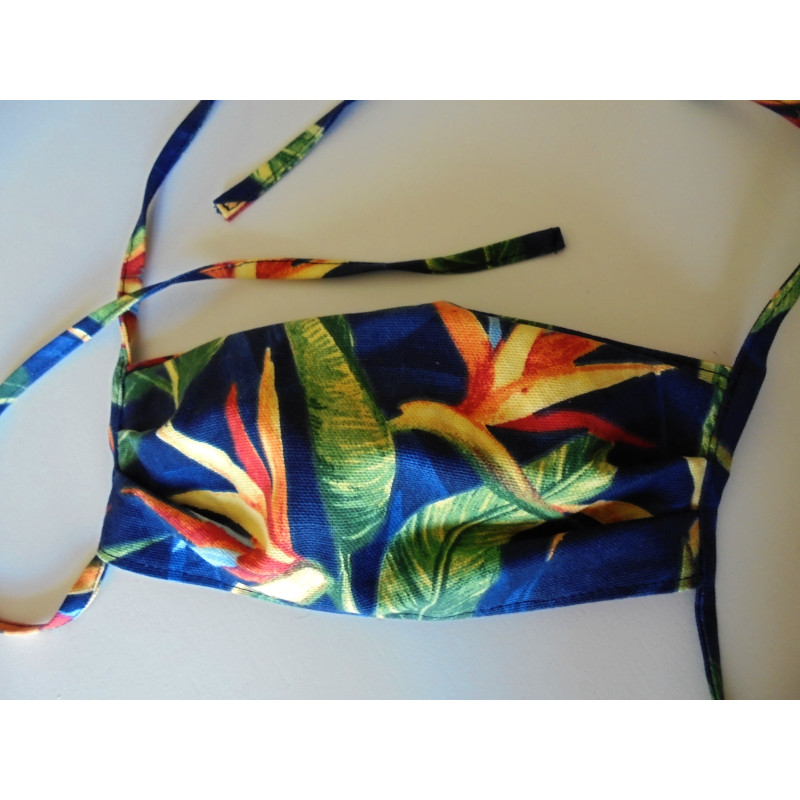 Masque tissu motif tropical