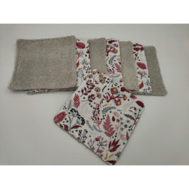 Lingettes bambou taupe fleurs rouges