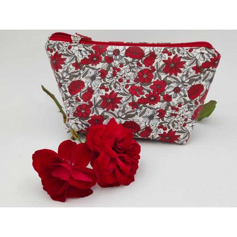 Pochette fleurs rouges coton enduit