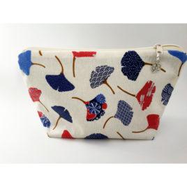 Pochette écrue motif ginko bleu rouge enduite