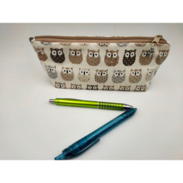 Trousse hibou chouette taupe