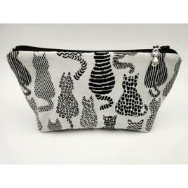 Pochette grise motif chats