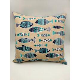 Housse de coussin beige poissons bleus
